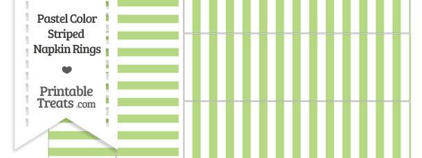 Pastel Light Green Striped Napkin Rings