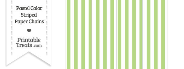 Pastel Light Green Striped Paper Chains