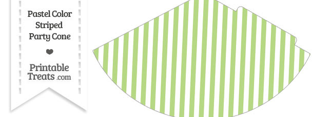 Pastel Light Green Striped Party Cone