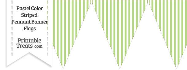 Pastel Light Green Striped Pennant Banner Flag