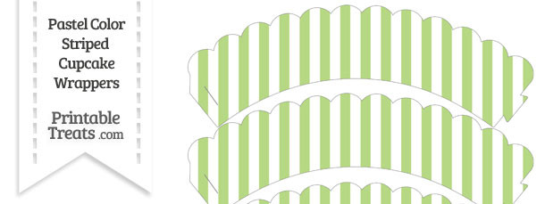 Pastel Light Green Striped Scalloped Cupcake Wrappers