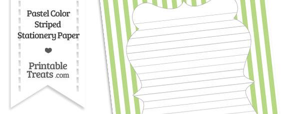 Pastel Light Green Striped Stationery Paper