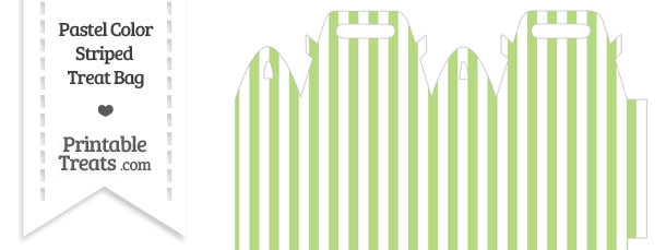 Pastel Light Green Striped Treat Bag
