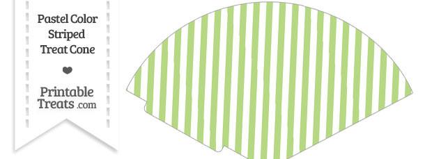Pastel Light Green Striped Treat Cone
