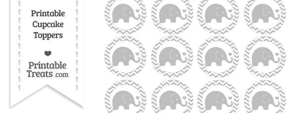 Pastel Light Grey Chevron Baby Elephant Cupcake Toppers