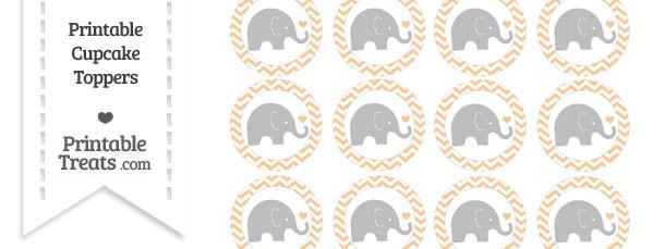 Pastel Light Orange Chevron Baby Elephant Cupcake Toppers