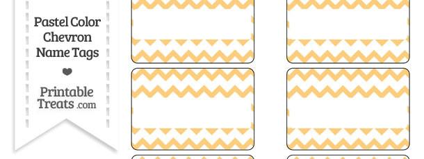Pastel Light Orange Chevron Name Tags