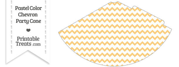 Pastel Light Orange Chevron Party Cone