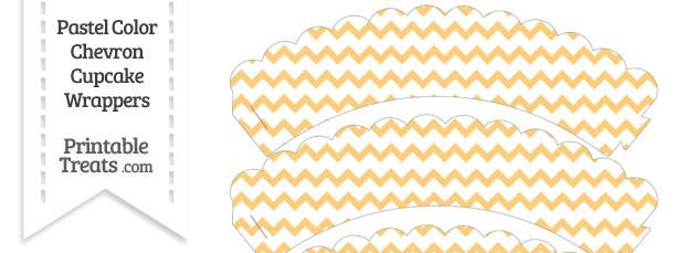 Pastel Light Orange Chevron Scalloped Cupcake Wrappers