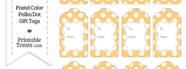 Pastel Light Orange Polka Dot Gift Tags
