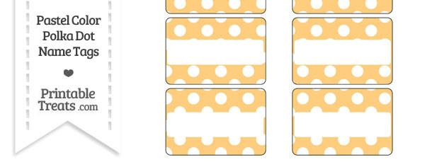 Pastel Light Orange Polka Dot Name Tags