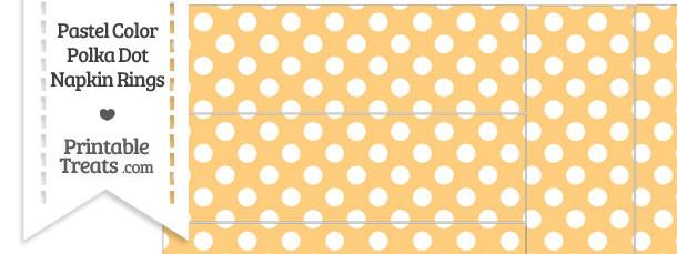 Pastel Light Orange Polka Dot Napkin Rings