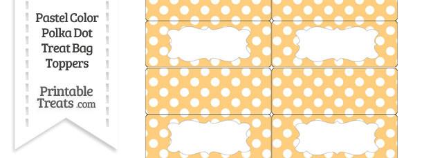 Pastel Light Orange Polka Dot Treat Bag Toppers