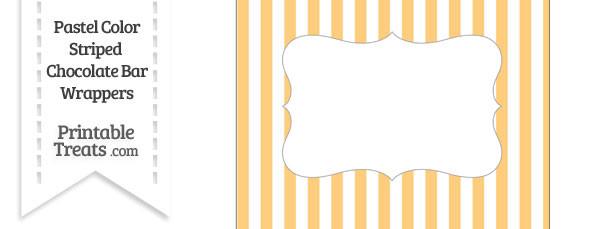 Pastel Light Orange Striped Chocolate Bar Wrappers