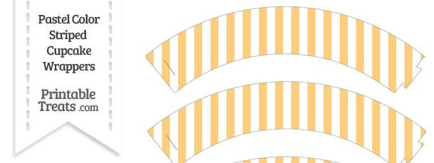 Pastel Light Orange Striped Cupcake Wrappers