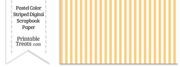 Pastel Light Orange Striped Digital Scrapbook Paper