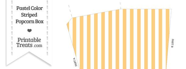 Pastel Light Orange Striped Popcorn Box