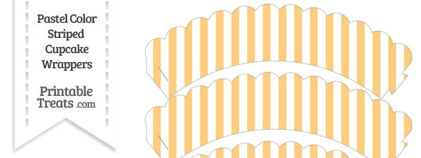 Pastel Light Orange Striped Scalloped Cupcake Wrappers