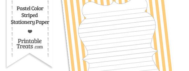 Pastel Light Orange Striped Stationery Paper