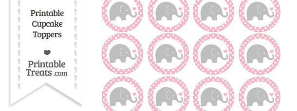 Pastel Light Pink Polka Dot Baby Elephant Cupcake Toppers