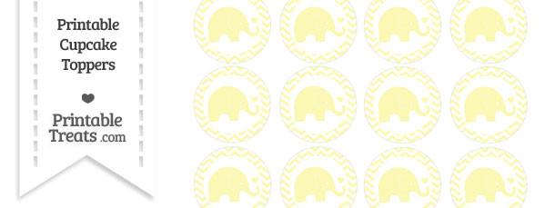 Pastel Light Yellow Baby Elephant Chevron Cupcake Toppers