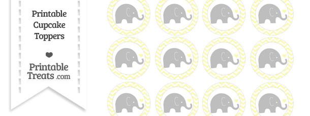 Pastel Light Yellow Chevron Baby Elephant Cupcake Toppers