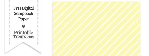 Pastel Light Yellow Large Diagonal Candy Striped Digital Paper