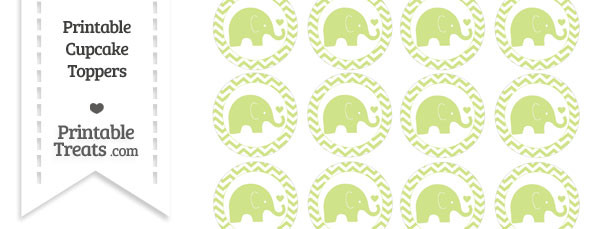 Pastel Lime Green Baby Elephant Chevron Cupcake Toppers
