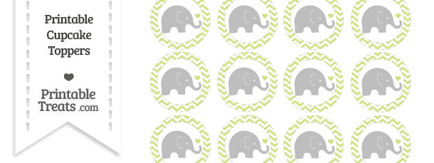 Pastel Lime Green Chevron Baby Elephant Cupcake Toppers