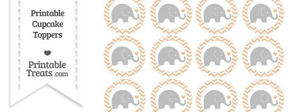 Pastel Orange Chevron Baby Elephant Cupcake Toppers