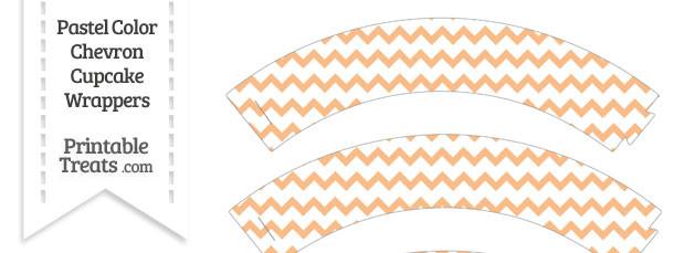 Pastel Orange Chevron Cupcake Wrappers