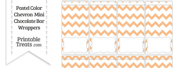 Pastel Orange Chevron Mini Chocolate Bar Wrappers