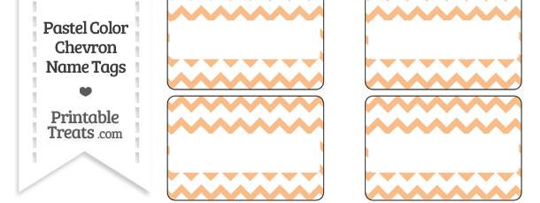 Pastel Orange Chevron Name Tags