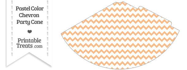 Pastel Orange Chevron Party Cone