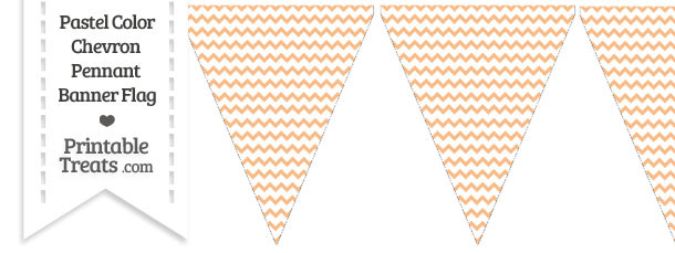 Pastel Orange Chevron Pennant Banner Flag