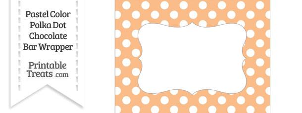 Pastel Orange Polka Dot Chocolate Bar Wrappers