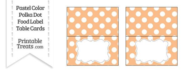 Pastel Orange Polka Dot Food Labels