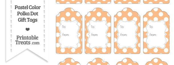 Pastel Orange Polka Dot Gift Tags