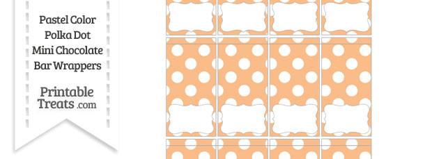Pastel Orange Polka Dot Mini Chocolate Bar Wrappers