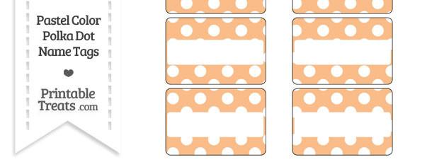 Pastel Orange Polka Dot Name Tags