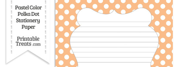 Pastel Orange Polka Dot Stationery Paper