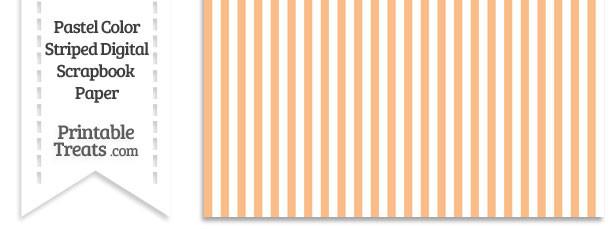 Pastel Orange Striped Digital Scrapbook Paper