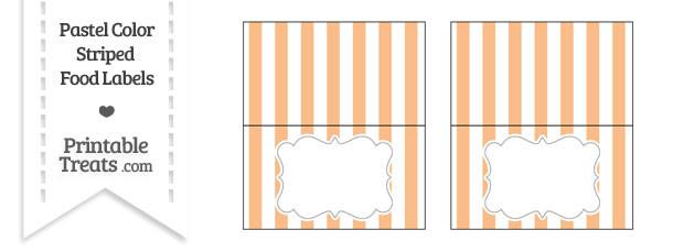 Pastel Orange Striped Food Labels