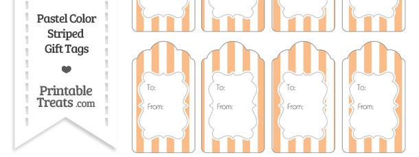 Pastel Orange Striped Gift Tags