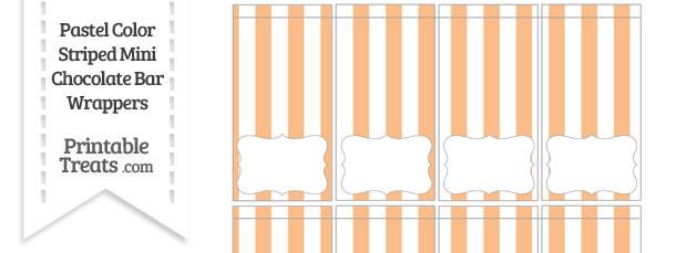 Pastel Orange Striped Mini Chocolate Bar Wrappers