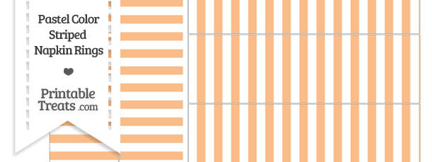 Pastel Orange Striped Napkin Rings