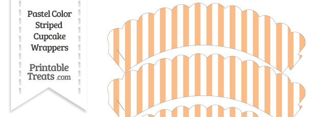 Pastel Orange Striped Scalloped Cupcake Wrappers