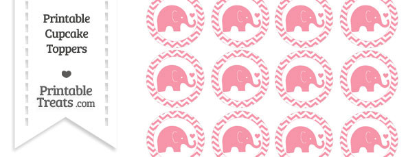Pastel Pink Baby Elephant Chevron Cupcake Toppers