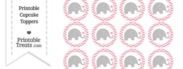 Pastel Pink Chevron Baby Elephant Cupcake Toppers