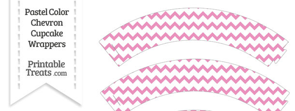 Pastel Pink Chevron Cupcake Wrappers